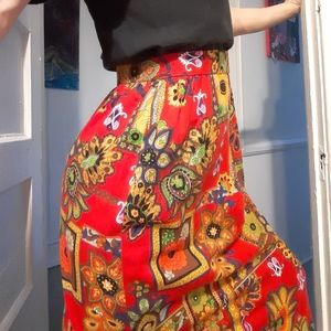 1970's Psychedelic floral maxi skirt